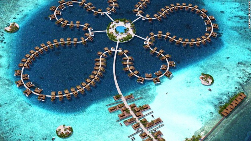 Ocean Flower, el futuro hotel flotante con 185 villas en Maldivas.