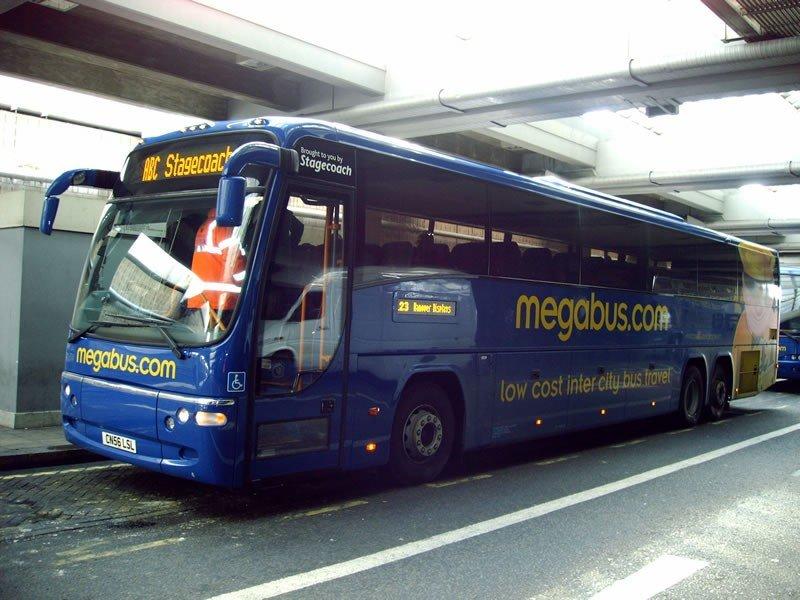 Uno de los autocares de la empresa Megabus.