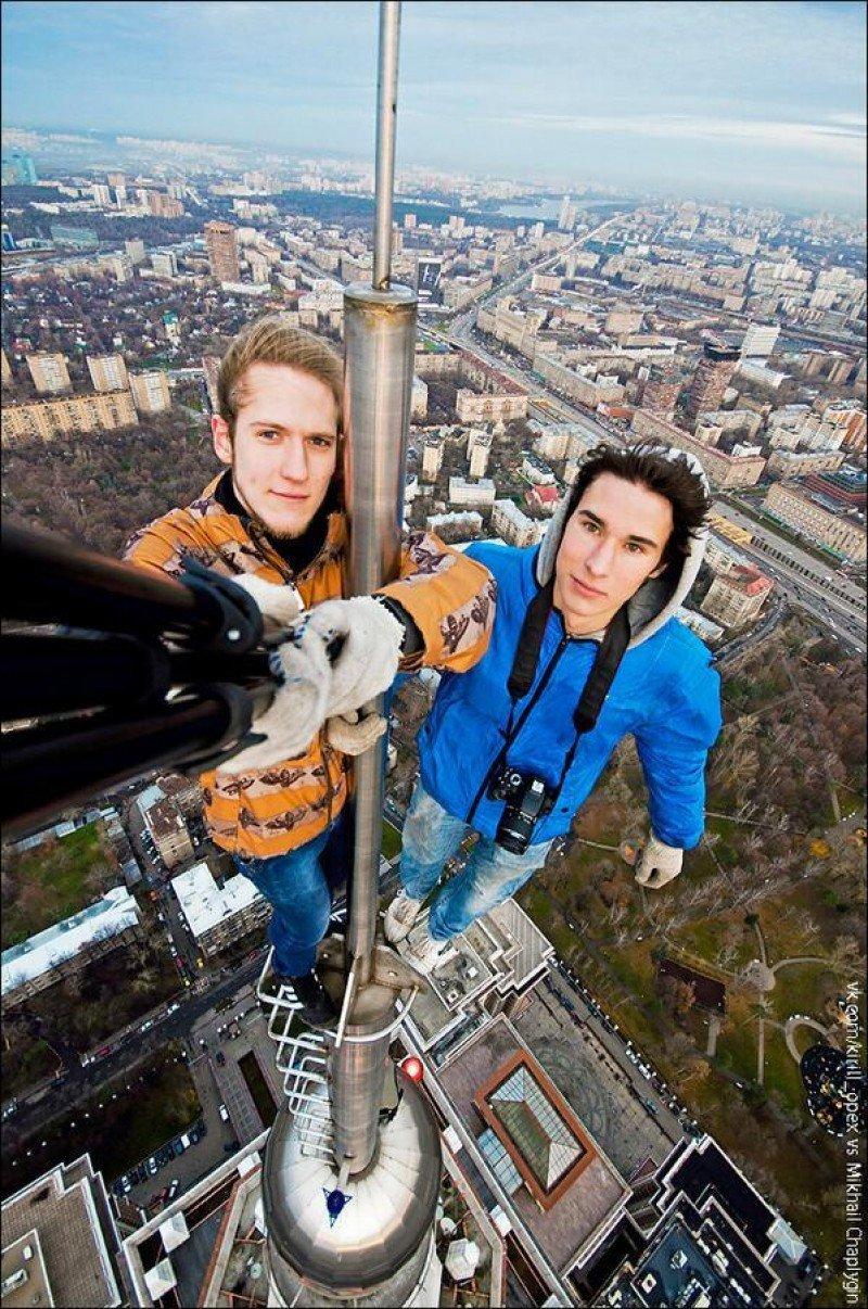 Selfie desde un rascacielos.