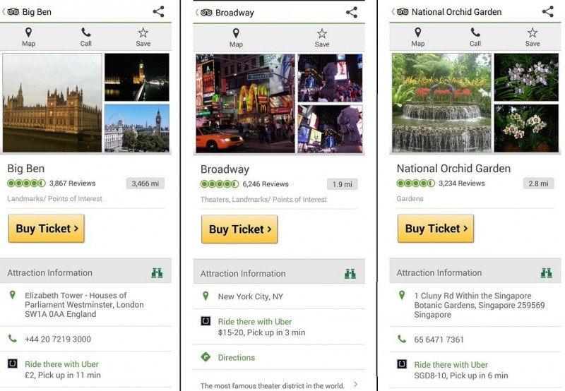 Ejemplos de la incorporación de Uber en la app de TripAdvisor. Imagen: Tnooz.