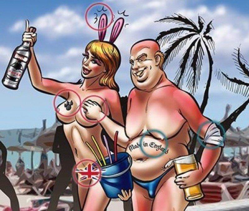 Viñeta publicada en el diario alemán Bild este verano, donde criticaba la actitud de los turistas británicos en destinos como Mallorca.