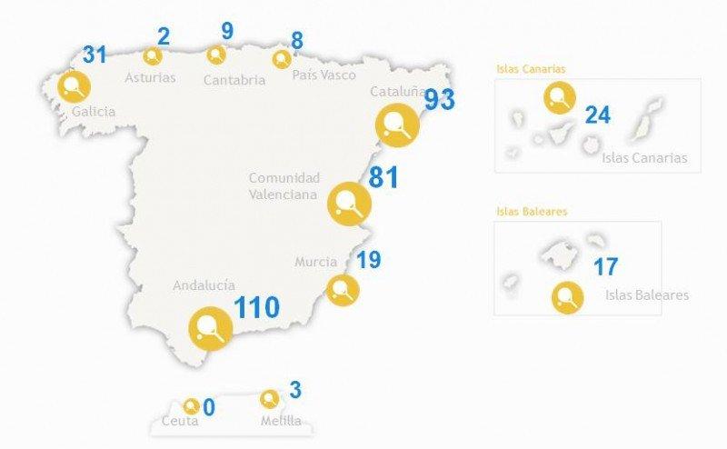 Distribución de playas con zopas deportivas. Fuente: Playea.es. CLICK PARA AMPLIAR IMAGEN.
