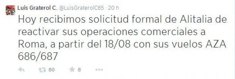 Alitalia reanudará sus operaciones en Venezuela este lunes