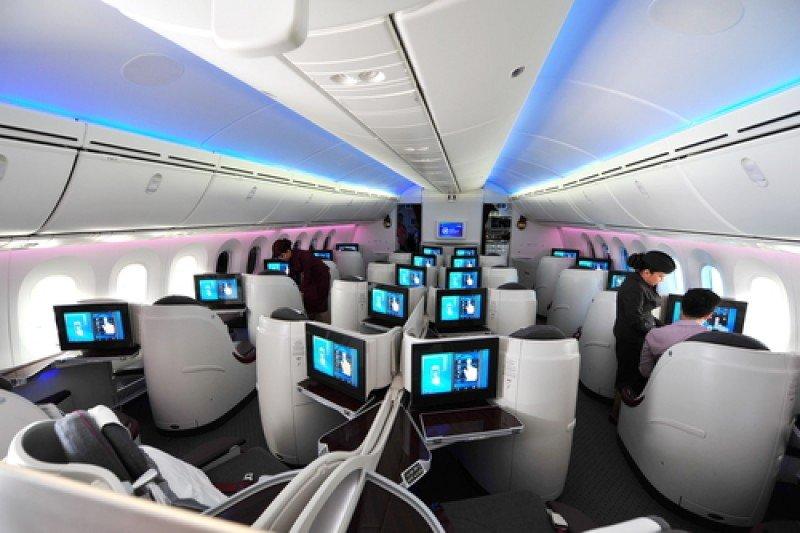 Clase business de un Boeing 787 Dreamliner de Singapur Airlines. #shu#