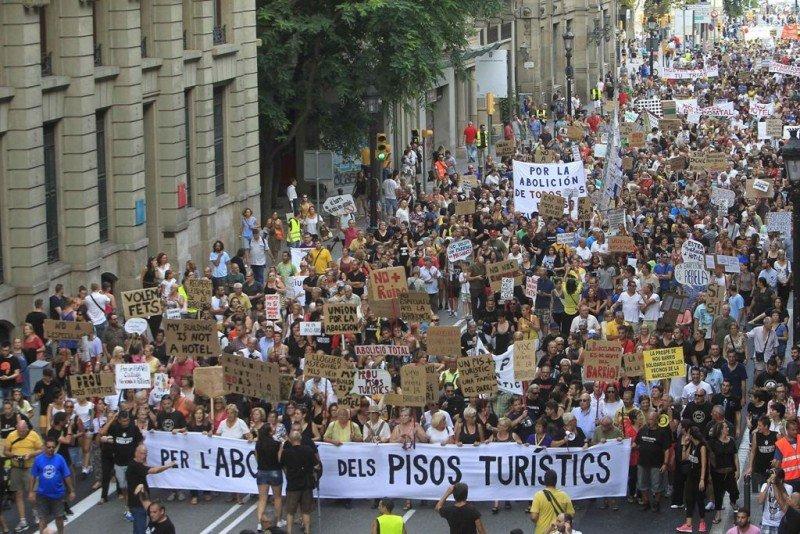 Imagen de la manifestación celebrada el 30 de agosto en Barcelona. Foto: Efe.