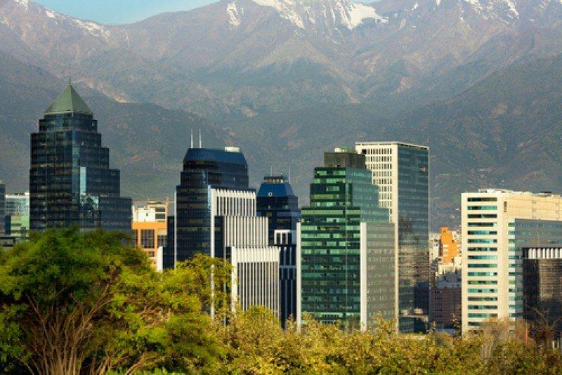 Vista del distrito financiero de Santiago de Chile. #shu#