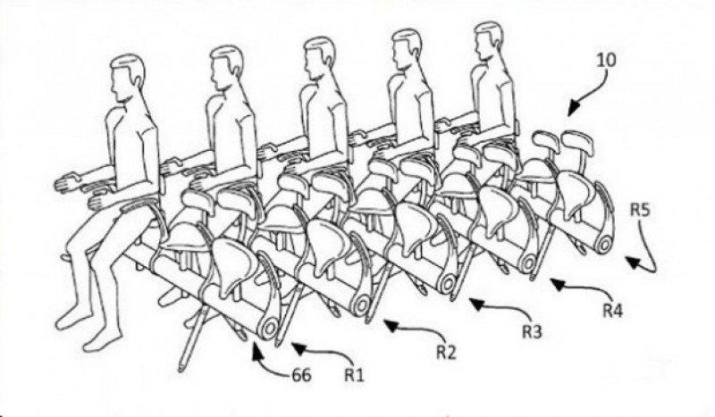 El modelo de asiento-sillín patentado por Airbus.