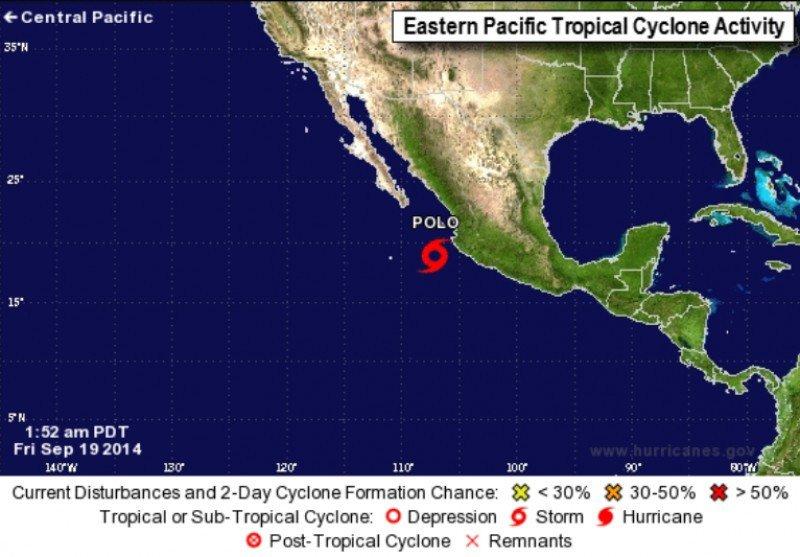 Infografía del National Hurricane Center del 19 de septiembre, que muestra la situación de la tormenta tropical Polo. CLICK PARA AMPLIAR IMAGEN.