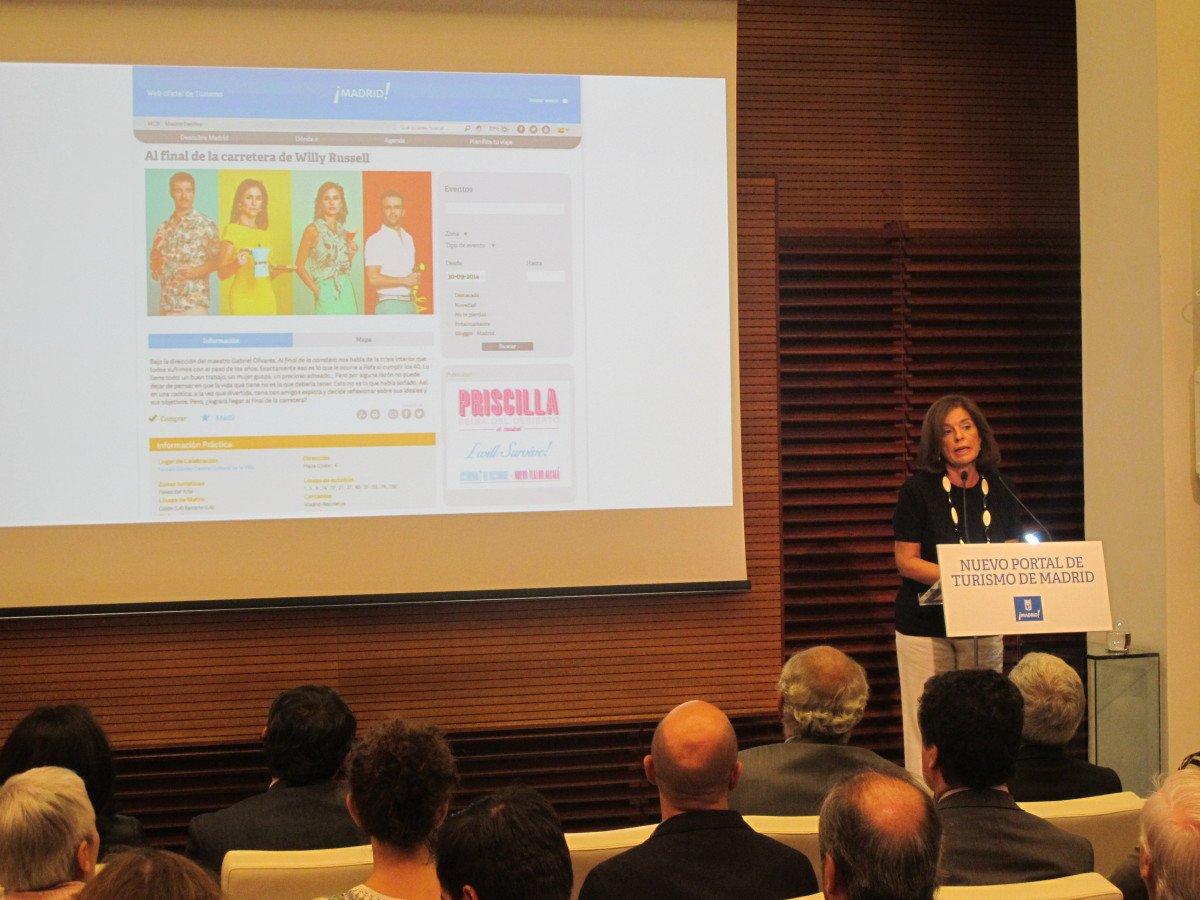 Ana Botella presentó ayer la nueva web en un evento que contó con una nutrida representación del sector turístico.