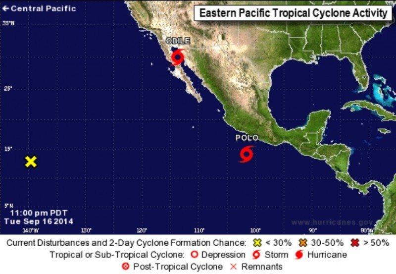 Infografía del National Hurricane Center, donde se muestra la posición de Odile y Polo. Esta última tormenta avanza ahora hacia Baja California. CLICK PARA AMPLIAR IMAGEN.