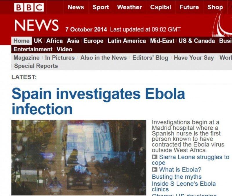 Portada de la edición digital de BBC News del 7 de octubre de 2014.
