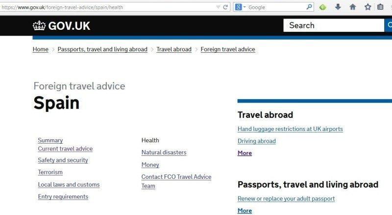 Web del gobierno británico con las recomendaciones de viajes.