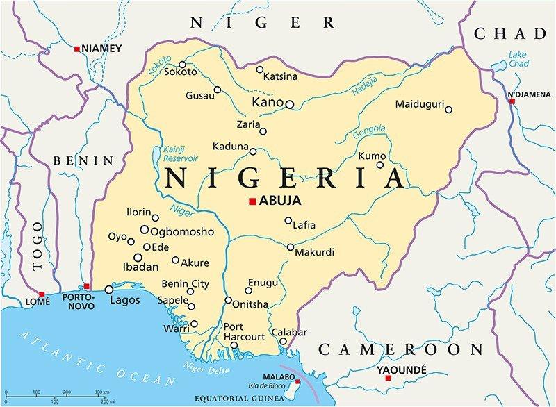 Mapa político de Nigeria. #shu#