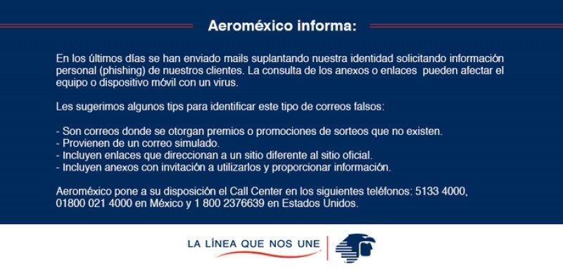 Aeroméxico denuncia intento de estafa online en su nombre