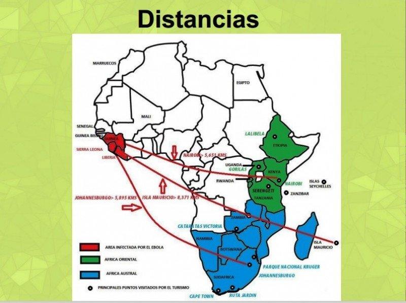 Mapa de distancias de la zona afectada por el ébola al África Austral y África Oriental.