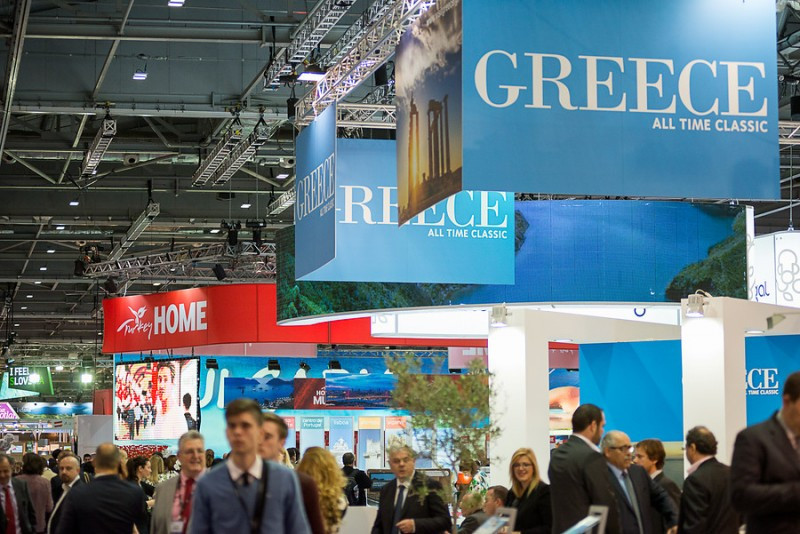 Estands de Grecia y Turquía en la feria World Travel Market 2014 que se ha celebrado en Londres.