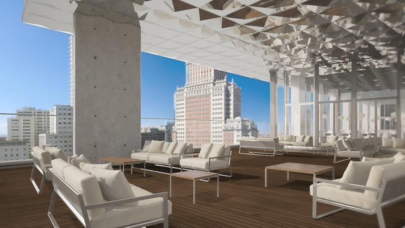 La terraza, con piscina exterior climatizada y SKY Bar, ofrecerá espectaculares vistas de la ciudad.