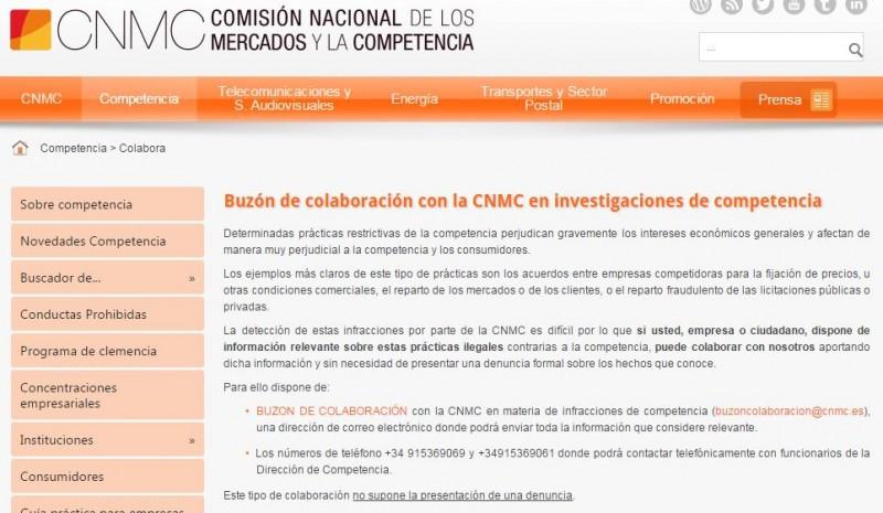 Buzón de colaboración de la CNMC.