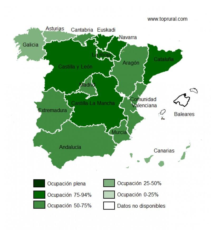 Previsión de ocupación para el puente en turismo rural por CCAA. Fuente: Toprural.