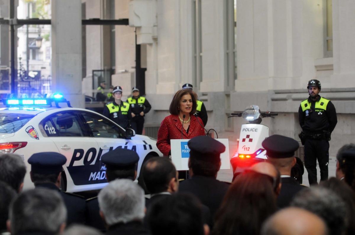 La alcaldesa de Madrid, Ana Botella, presenta la nueva estrategia de seguridad.