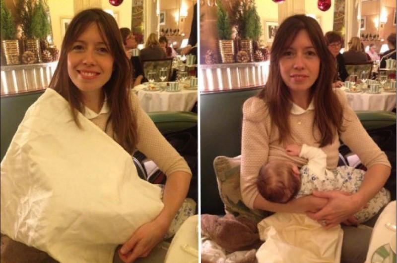 Como bien dice ella misma, llamaba más la atención con la servilleta que sin ella. Fotos subidas a Twitter por su madre.