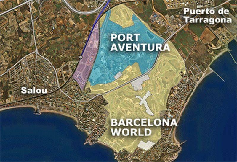Ubicación prevista del complejo de ocio BCN World, en la provincia de Tarragona.
