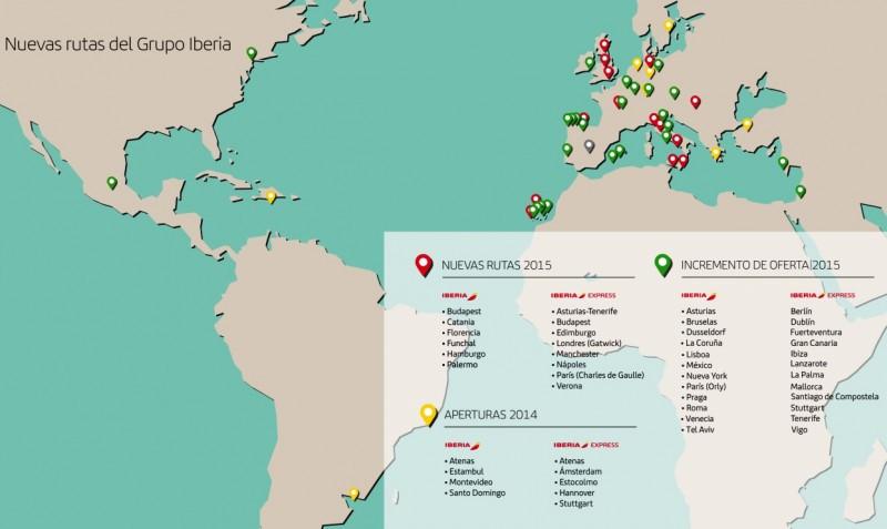 Nuevas rutas y frecuencias de Iberia e Iberia Express y qué compañía las opera.