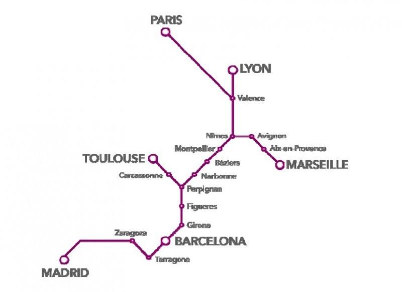 La relación AVE España-Francia ha registrado un tráfico en la totalidad de sus trayectos, incluyendo los domésticos, de 1,8 millones de pasajeros en su primer año de servicio.