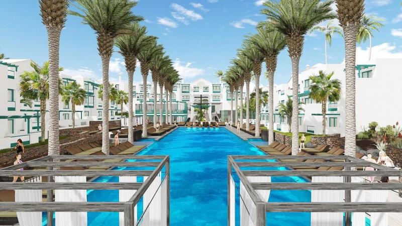 Infografía de cómo será la piscina del futuro Barceló Teguise Beach.
