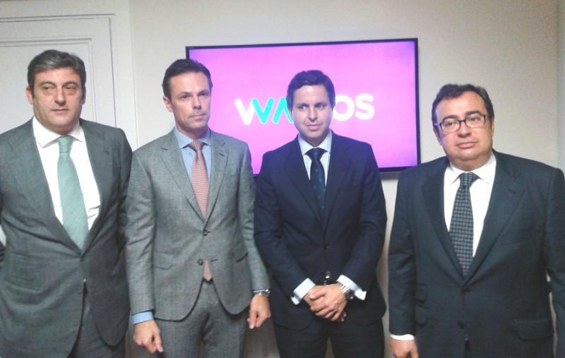 El CEO de Springwater, Martin Gruschka (segundo por la izda.), junto a (de izda. a dcha.) José Mª de la Cruz, director de Wamos Circuitos; Enrique Saiz, director de Wamos Air; y Rafael Montoro, director de Wamos Tours y Nautalia.