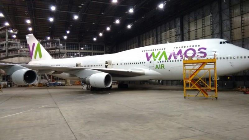 Primero de los aviones de la hasta ahora Pullmantur Air, pintado con su nueva marca Wamos Air.