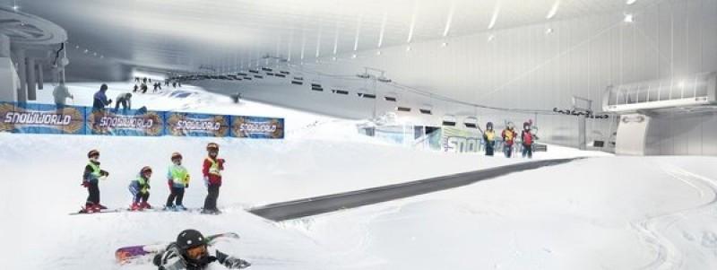 Recreación virtual de una pista de nieve indoor desarrollada por la empresa holandesa SnowWorld.
