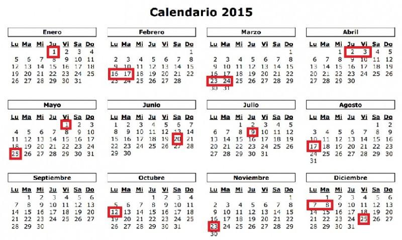 Calendario de feriados.