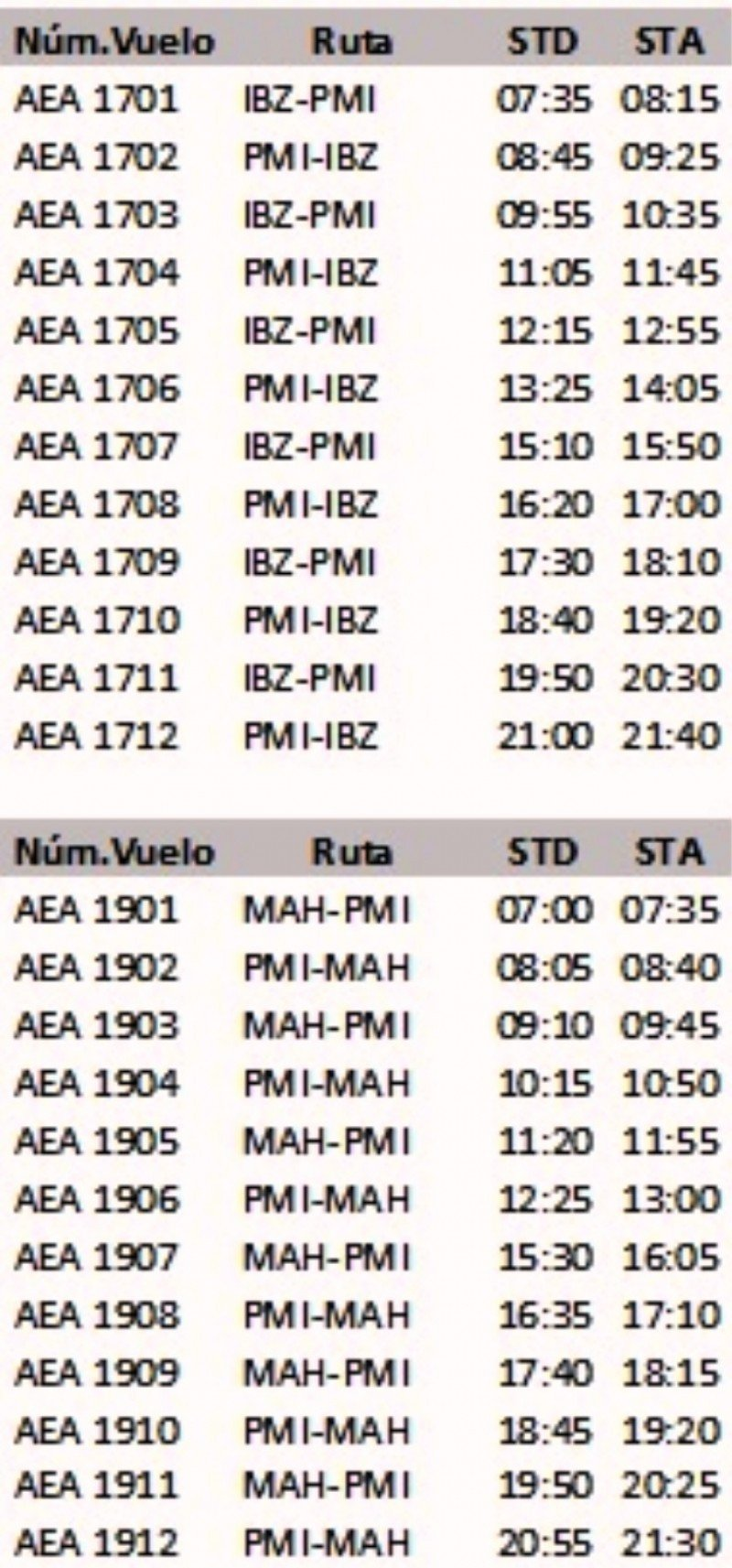 Horarios de los vuelos entre las Islas BalearesAir Europa.