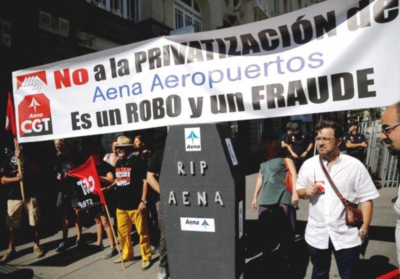 Protestas de los trabajadores de Aena (Foto de El Periódico).