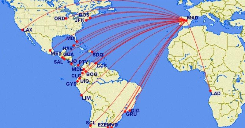 Nuevo mapa de rutas de largo radio de Iberia en una imagen desarrollada por Jorge López (@jlopezbio).
