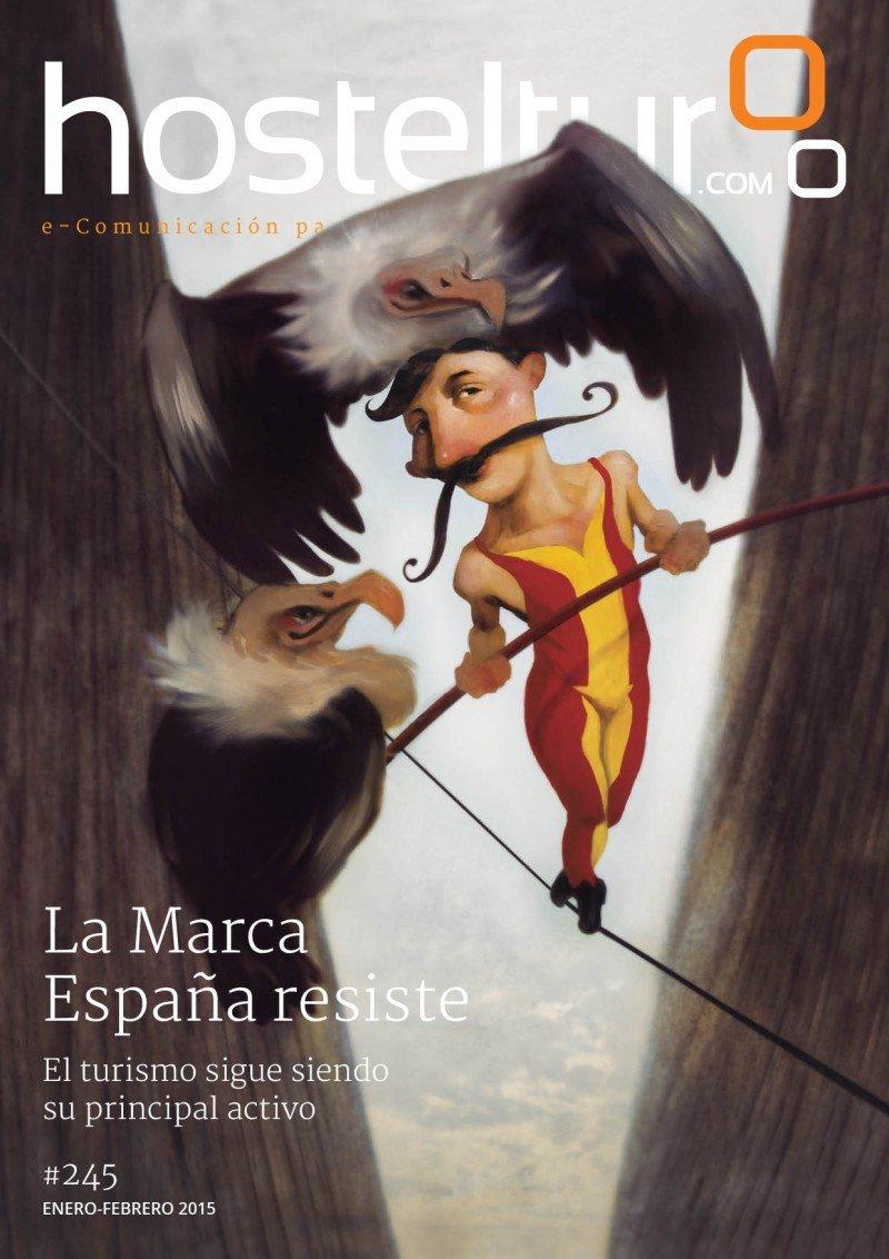La portada de la revista HOSTELTUR correspondiente al mes de enero de 2015.