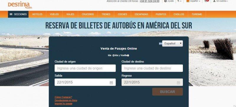 Destinia comienza a vender pasajes para buses de Sudamérica.