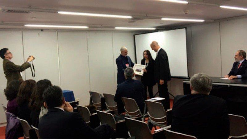 Benjamín Liberoff, Yolanda Perdomo (OMT) y Antonio Carámbula en la presentación. Foto: Destino Punta del Este.