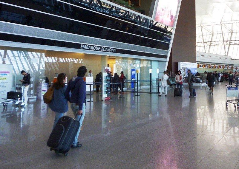 Área de embarque en el Aeropuerto Internacional de Carrasco.