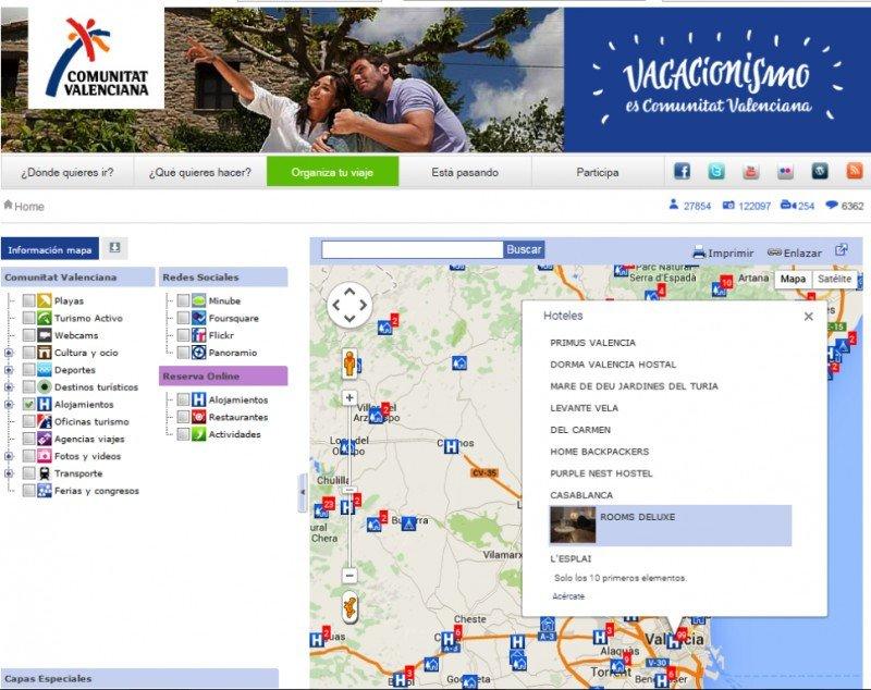 El Geoportal oficial de la Comunidad Valenciana incorpora las reservas online.