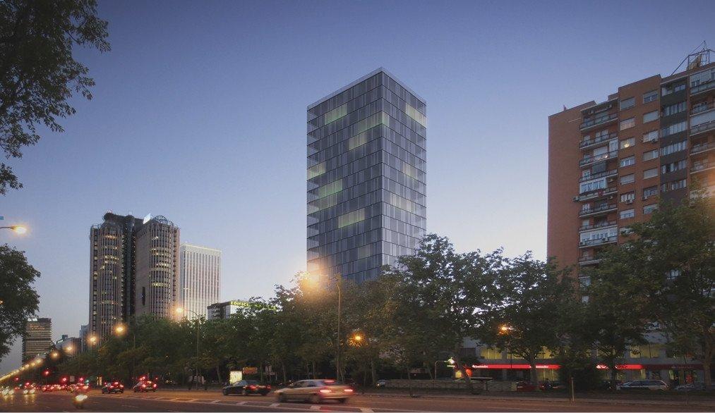 Otra perspectiva simulada del que sería un nuevo hotel en el Paseo de la Castellana.