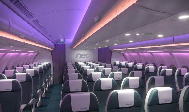Interior de un avión A 320 Neo. Foto: Airbus