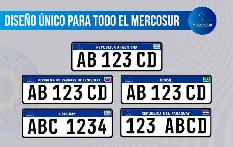 Así serán las nuevas chapas de los cinco países del Mercosur.