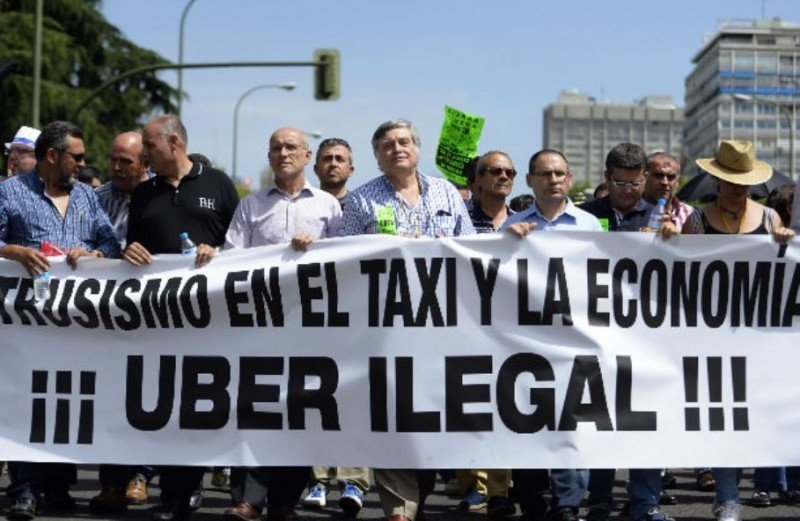 Una d elas marchas realizadas en Madrid en contra de las actividades de Uber.
