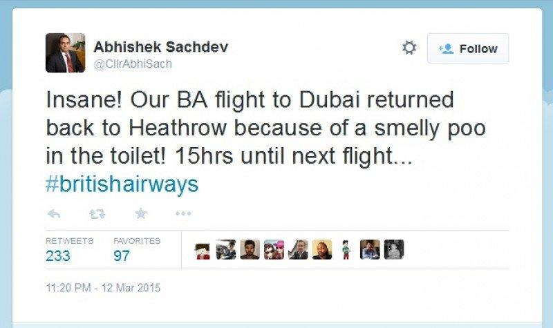 Twit del concejal Abhishek Sachdev del Reino Unido.