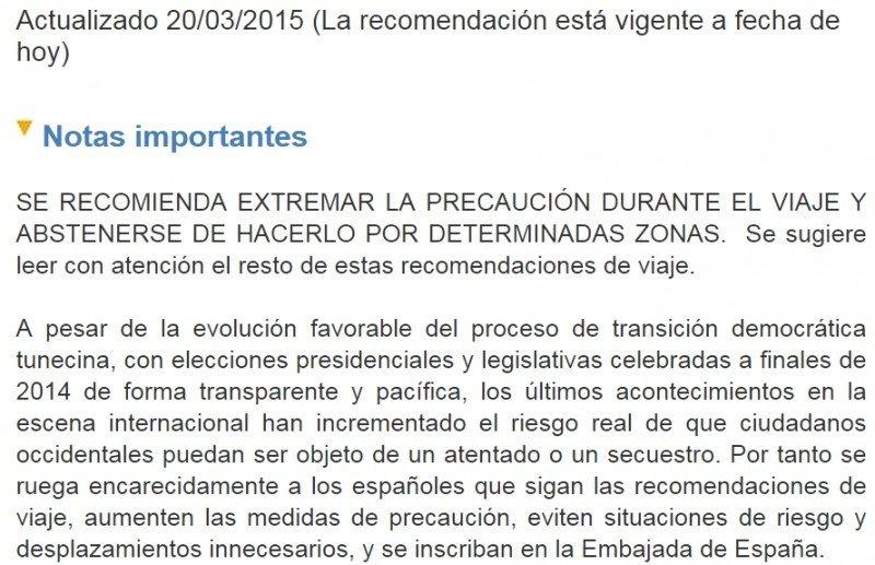 Aviso publicado por el Ministerio español de Asuntos Exteriores en su página de recomendaciones de viaje.