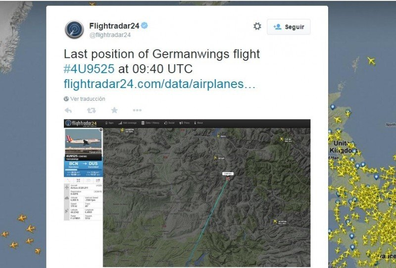 Última posición conocida del avión en vuelo. La web especializada Flightradar24 ha perdido a las 10:39 horas el vuelo a una altitud de 6.800 pies (unos 2.000 metros de altura) en una zona en la que los picos alcanzan hasta los 3.000 metros.