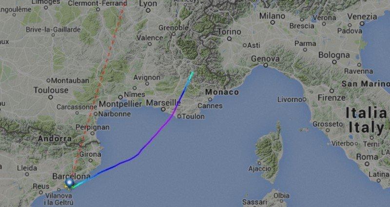 Trayecto del vuelo de Germanwings hasta que desapareció del radar.