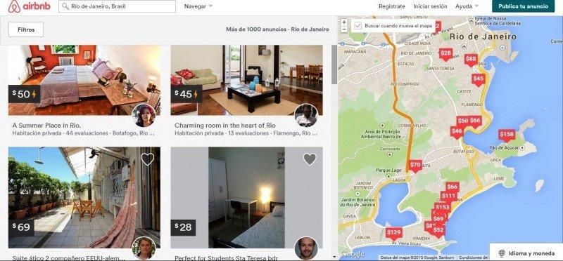 Página de ofertas de Airbnb en Rio.